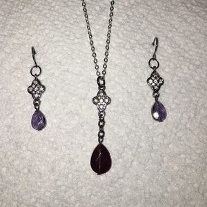 🆕Crystal & wine colored earring & necklace new