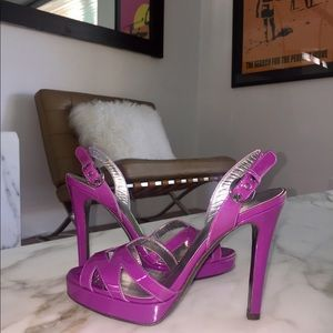 D&G Shoes - D&G Violet Patent Leather Platform Sandals 💜