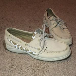 Sperry Shoes - Cream and Leopard Sperries