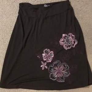 Brown floral A-line Skirt