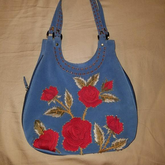 bdcfd3e59530 Isabella Fiore Handbags - Beautiful Embroidered Suede Isabella Fiore Bag