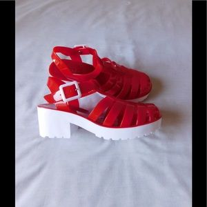 Shoes - Fancy Red/White Jelly Gladiator Sandals