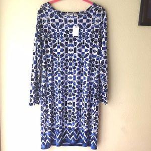 Cato Dresses & Skirts - Blue geometric design long sleeve dress NWT