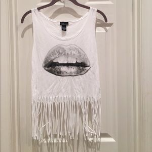 Lips fringed tank top