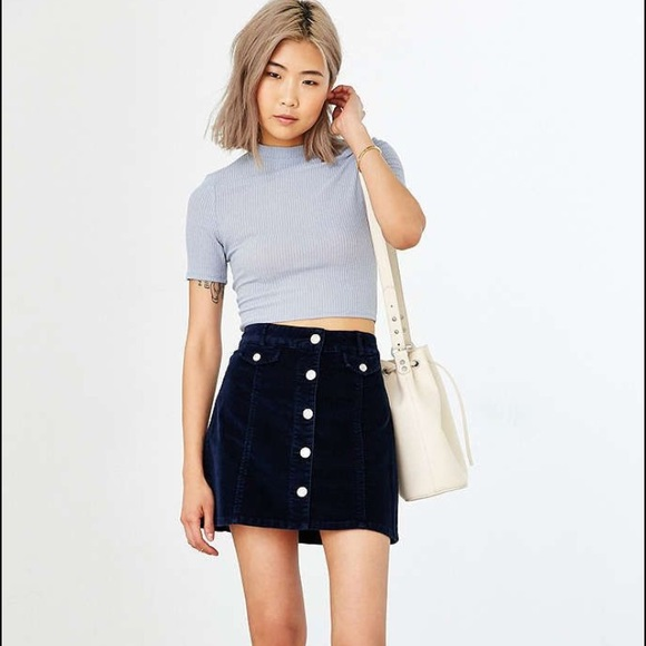 c9e109a32 BDG Dresses & Skirts - UO BDG navy blue corduroy button up skirt