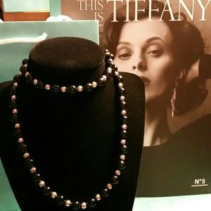Tiffany & Co. Black Onyx & SS Bead Necklace