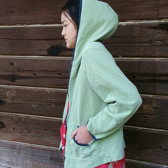 Hot Cotton by Marc Ware Jackets & Coats - Hot Cotton Mint Green Hoodie W/ Denim Trim