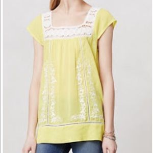 Anthropologie Yellow Embroidered Top