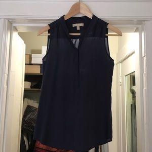 Navy 100% silk sleeveless blouse