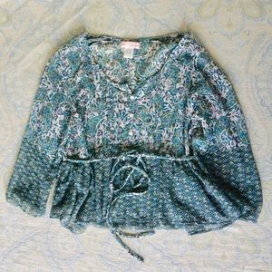 Band of Gypsies Tops - Band of gypsies floral boHo hippie sheer blouse