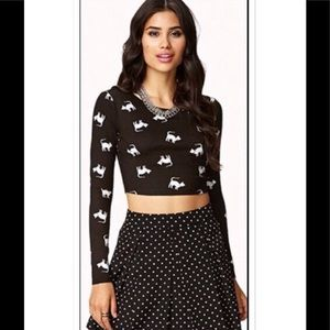 Forever 21 Cat Print Crop Top