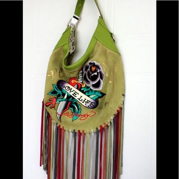 Ed Hardy Handbags - 👺 Ed Hardy Love Life Fringe Hobo Bag 👺 ab86965a2dcf3