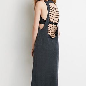 Grey strappy back cut out dress