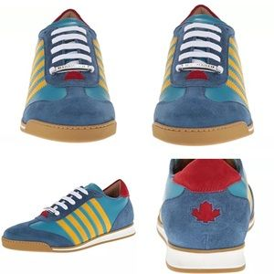 DSQUARED Other - Dsquared2 Blue Leather Fashion Sneakers 42.5 US 9