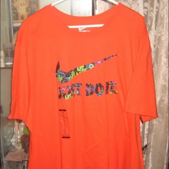Nike Just Do It Floral Print Orange T Shirt NWT