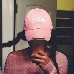 "Baby pink ""yeezus"" hat"