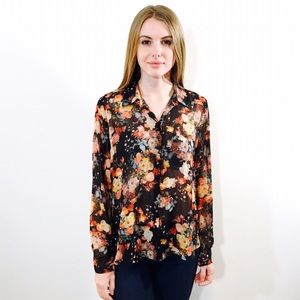 TOPSHOP SEMI SHEER FLORAL PRINT BUTTON DOWN TOP