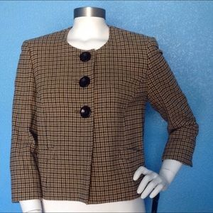 Anne Klein Lambswool Houndstooth Collarless Coat