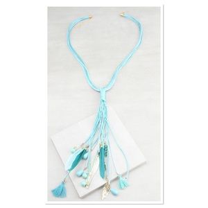 Turquoise Feather Lariat Necklace