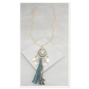 Shell & Goldtone Tassel Charm Necklace