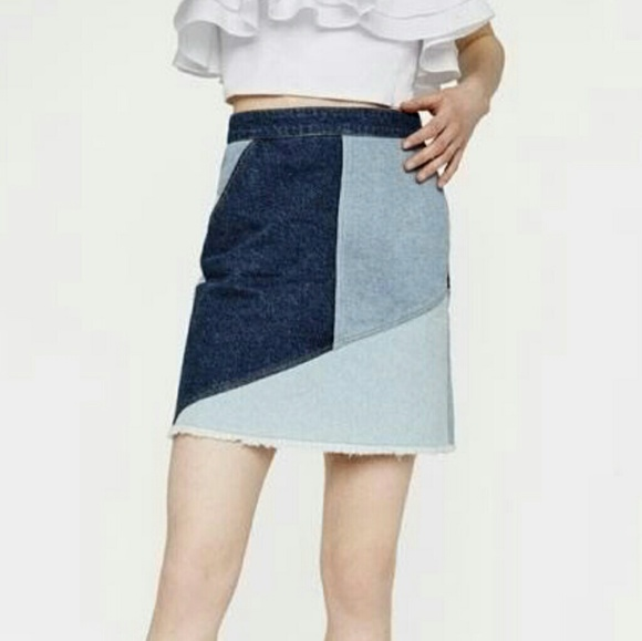 Kendall + Kylie Patchwork Denim Pencil Skirt