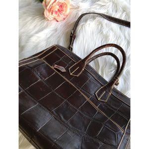 Dooney & Bourke Handbags - FLASH Crocodile Print Leather Oversize ShoulderBag