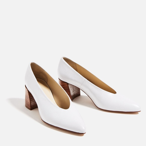 f83d6852547 Zara white leather mid heel shoes
