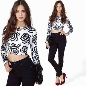 Nasty Gal Tops - Black and white rose top