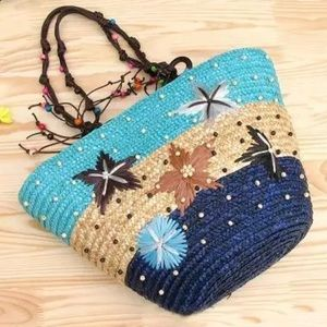 Handbags - Large NWT Straw Flower Beads Summer Beach Bag Tote