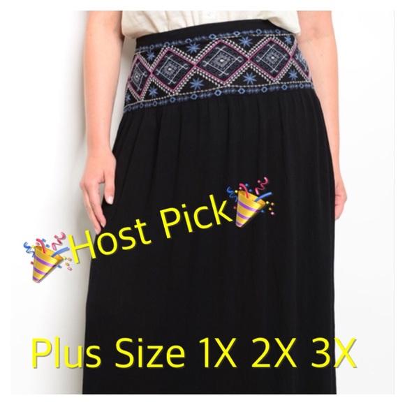 a68190e9df98b Boho Embroidered Maxi Skirt Plus Size