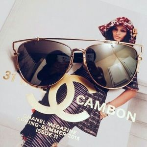 Accessories | Gold oversized mirrored aviators