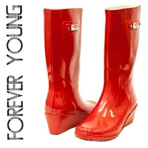 Women Tall Wedge Rainboots, #3100, Red