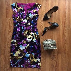 Donna Ricco Dresses & Skirts - Donna Ricco dress split neck sheath floral 2