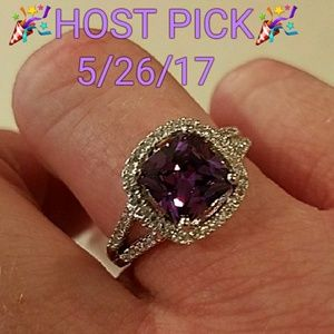 Jewelry - New Platinum Plated Zircon w/Purple Stone Ring  9