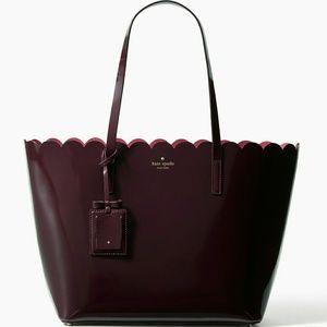 kate spade Handbags - NWT Kate Spade Burgundy/Wine Scalloped Patent Tote