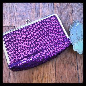 Purple peacock mirror clutch