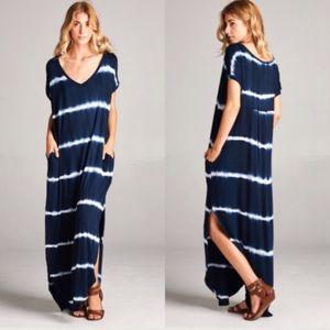 Dresses & Skirts - 🌸LAST🌸 Navy Tie Dye Boho Maxi Dress Oversized