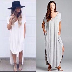 🌻RESTOCK🌻 Gray Oversized Side Slit Maxi Dress