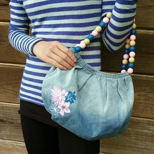 TCM Tchibo Denim Purse w/ Fun Pink Beaded Handle