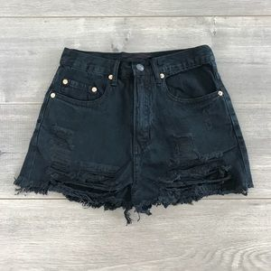 boutique Pants - 3 A.M. Distressed high waisted denim shorts