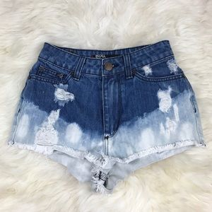 Urban Outfitters Pants - BDG Blue White Ombre Distressed Denim Shorts