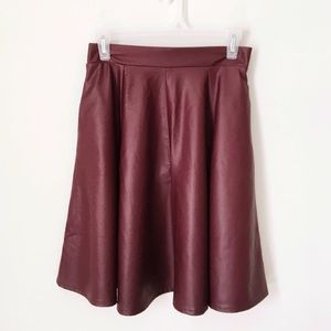 Forever 21 Dresses & Skirts - BURGUNDY FAUX LEATHER A-LINE SKIRT