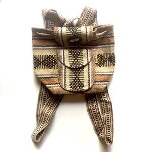 Handbags - Aztec Print Beige Brown Mini Mexican Backpack