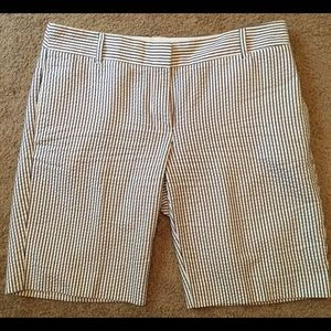 New J. Crew City Fit blue & white striped short 8