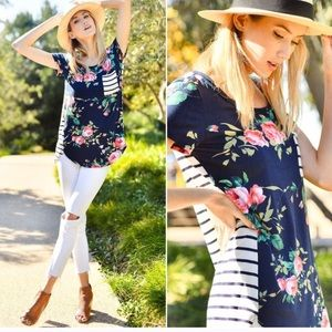 Twilight Gypsy Collective Tops - Stripe Navy Floral Top