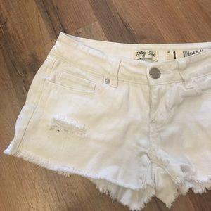 Indigo Rein Pants - White distressed low rise  shorts