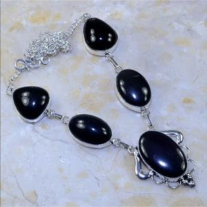 Jewelry - Black Agate statement necklace silver chain 925