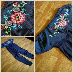 Chelsea & Violet Pants - Chelsea & Violet Embroidered Jumpsuit