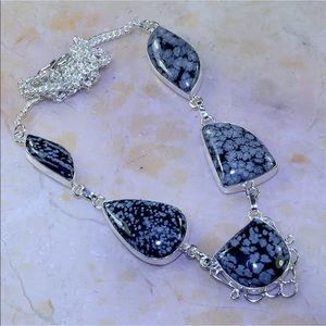 Jewelry - Snowflake Obsidian statement necklace silver 925