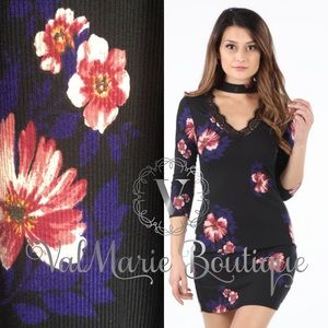 STUNNING light rubbed floral bodycon dress